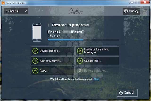 iphone restore is running in background