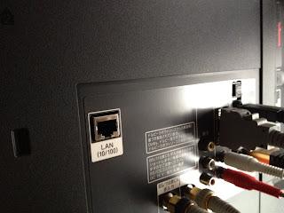 SONY BRAVIA(HX720)の背面.LANケーブルをココに指す.TVのアンテナの近くだと思う.機種によって違う.