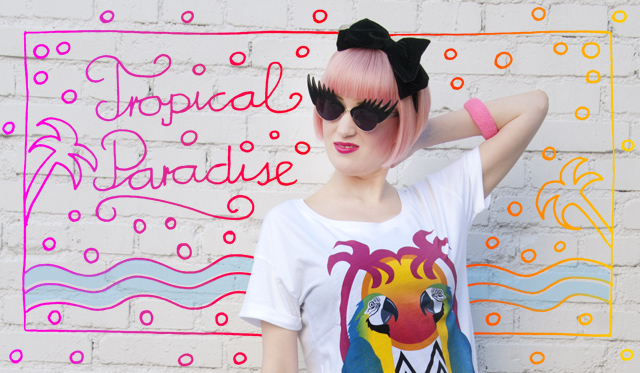 tropical print, parrot print, tatty devine, eyelash sunglasses