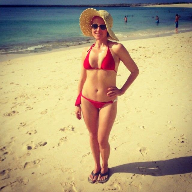 The 40-year-old shares her recipe for fun and a photo of herself in a two-piece on Saturday, August 30, 2014 in yet Instagram moment. Wearing nothing but an red bikini which skimmed her perfect anatomy, the stunning brunette poses in front of the beautiful seashore at the Cove Atlantis Hotel in Bahamas.