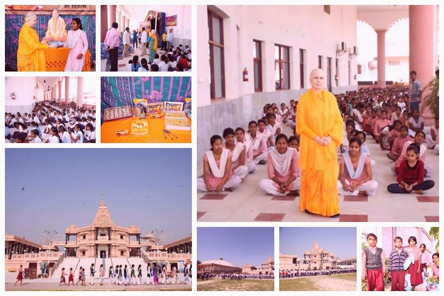 Jagadguru Kripalu Ji Maharaj devotees giving free goods to Mangarh kids during charity