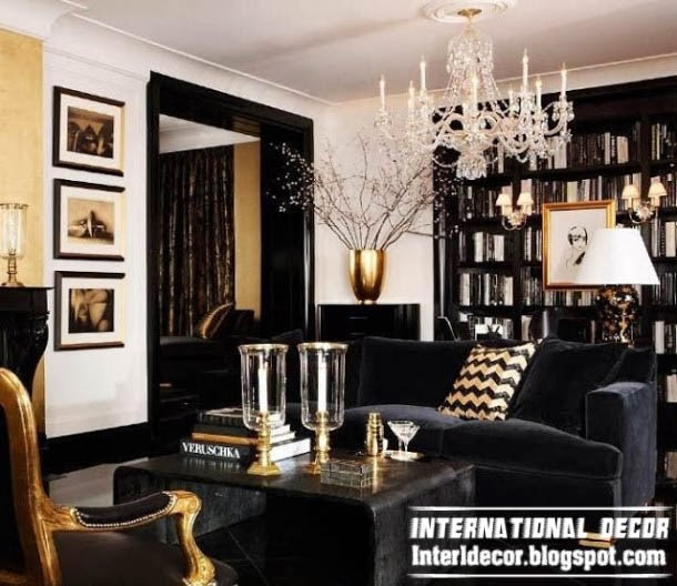 golden and chrome plating art deco style in modern interior