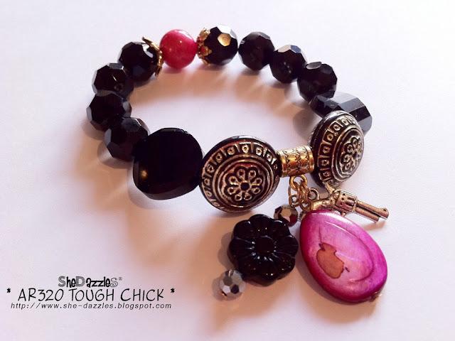 pink-shell-gun-charm-bracelet-stretchable