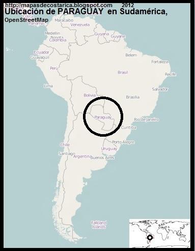 Ubicacion de PARAGUAY en Sudamerica, OpenStreetMap