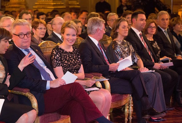Queen Mathilde, King Philippe and Princess Claire of Belgium assist the Autumn Concert at the Royal Palace