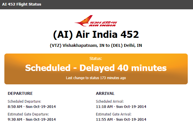 AI 452 FLIGHT DEPARTURE DELAYED OCT 19 2014