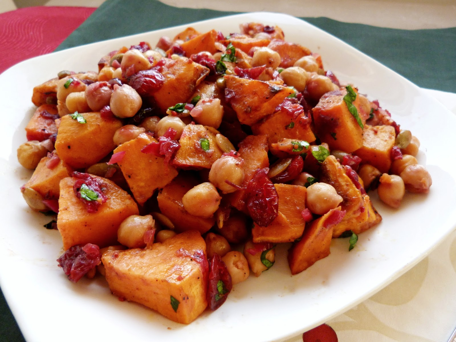 ... Roasted Sweet Potato & Chickpea Salad with Warm Cranberry Chutney