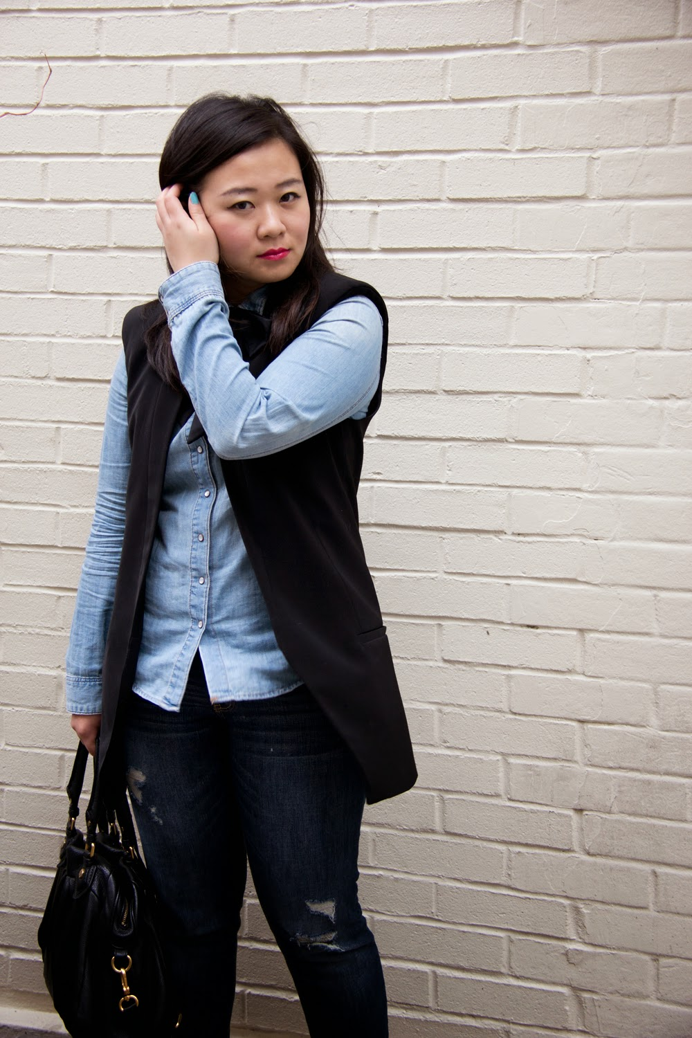 denim-on-denim, bow-tie,spring-outfit-look, Business-Casual, Toronto-Fashion-Blogger
