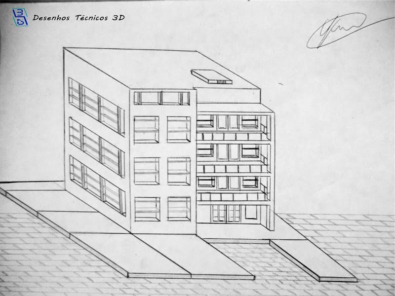 Desenho técnico em 3D feito à lápis