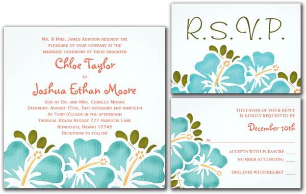 Pool and Coral Hibiscus Wedding Invitations