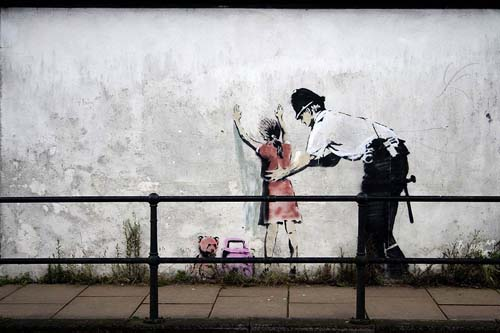 banksy graffiti art. Is this a Banksy? Vote Below!