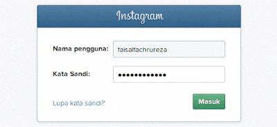 masukkan usernam dan password instagram