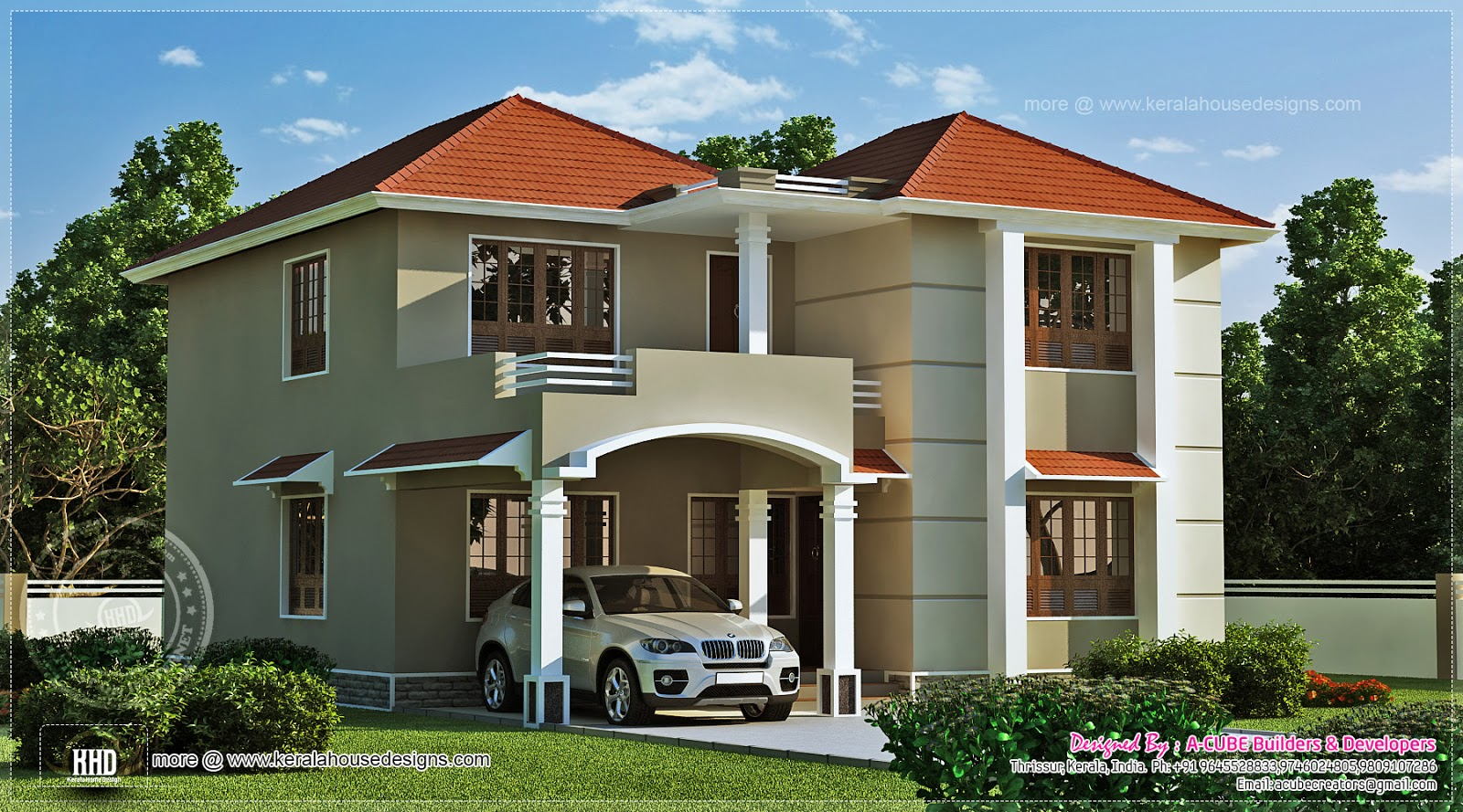 1962 square feet home exterior kerala home design and for Outside paint colours for house in india