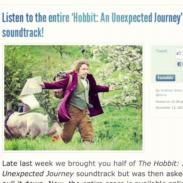 Sunday Morning Tunes - Hobbit, Unexpected Journey Screenshot