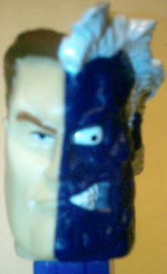 Close-up of Two-Face PEZ dispenser face