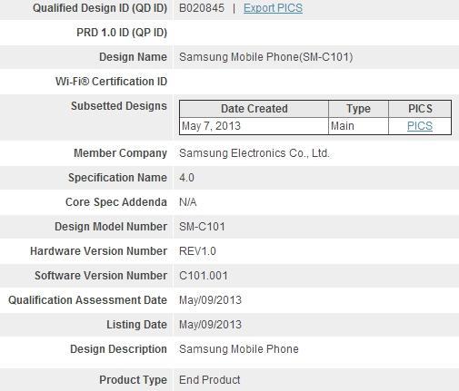 Samsung Galaxy S4 Zoom Bluetooth Certification