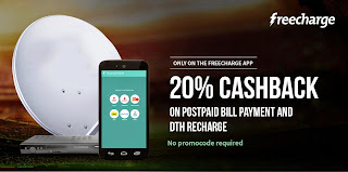 Freechrage Recharge offer : Get 20% cashback on Postpaid and DTH Recharge
