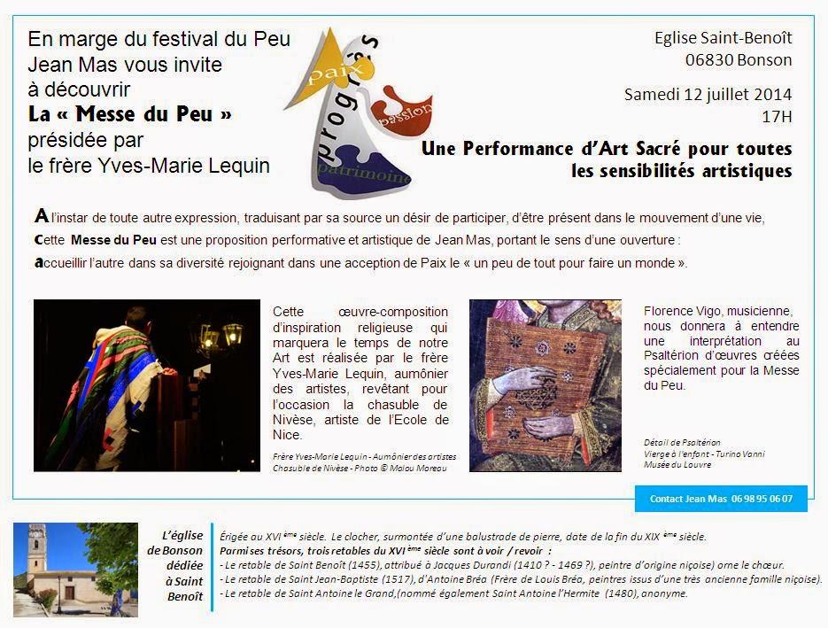 Jean MAS, Invitation à la « Messe du Peu », Performance d'Art Sacré