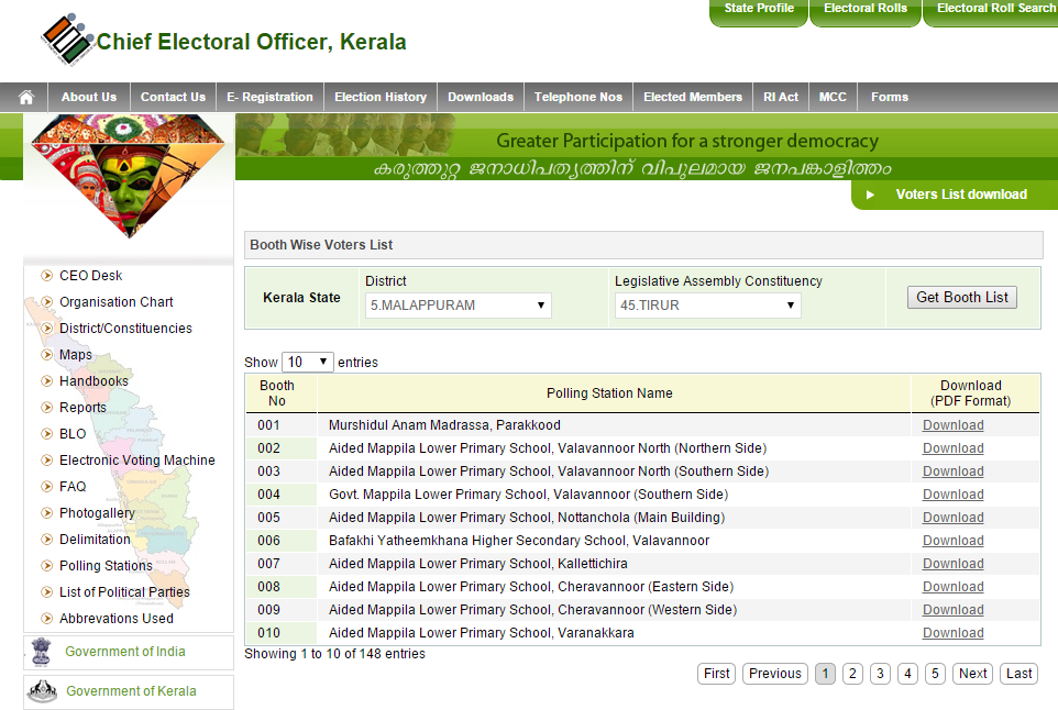 electoral officer kerala website