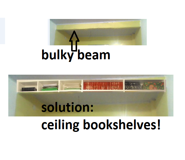 Ceiling Bookshelf my favourite solution for bulky beam problem: ceiling bookshelves