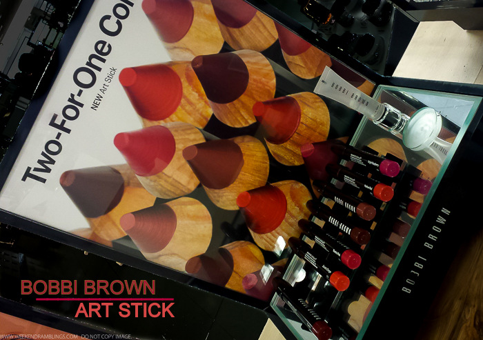 Bobbi Brown Art Sticks - Swatches - Cassis Sunset Orange Electric Pink Cherrywood Rose Brown Harlow Red Bright Raspberry