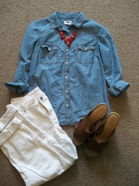 chambray shirt five ways white jeans fall transition brown wedges statement necklace