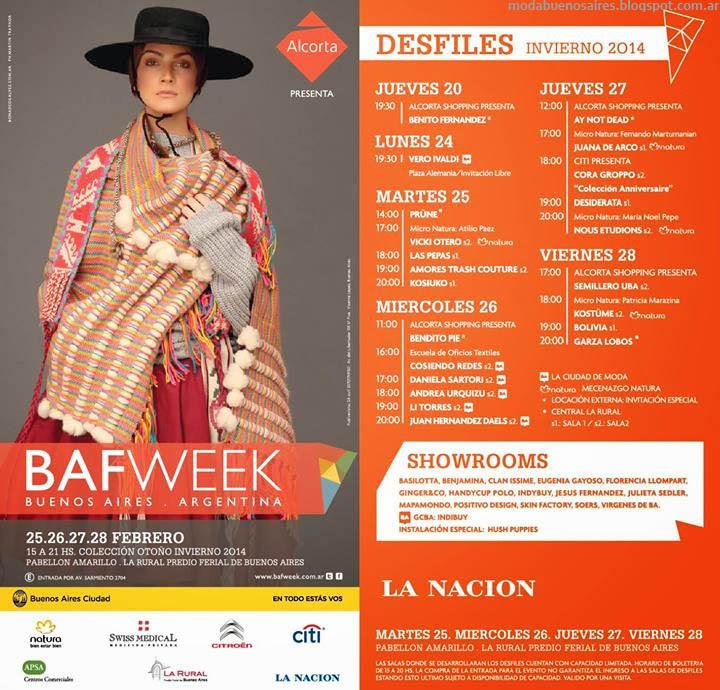 Bafweek otoño invierno 2014: Cronograma Calendario de Desfiles y Showrooms Bafweek.