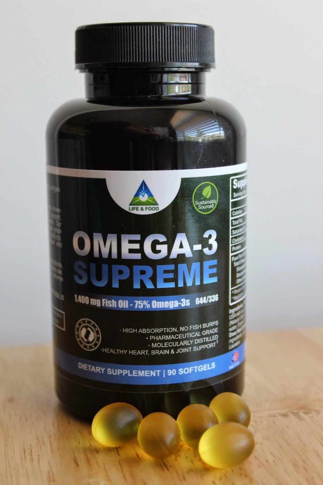 A sampling bee life food omega 3 supreme 1400mg fish for Fish oil ratings