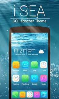 Screenshots of the iSEA GO Theme Launcher for Android mobile, tablet, and Smartphone.