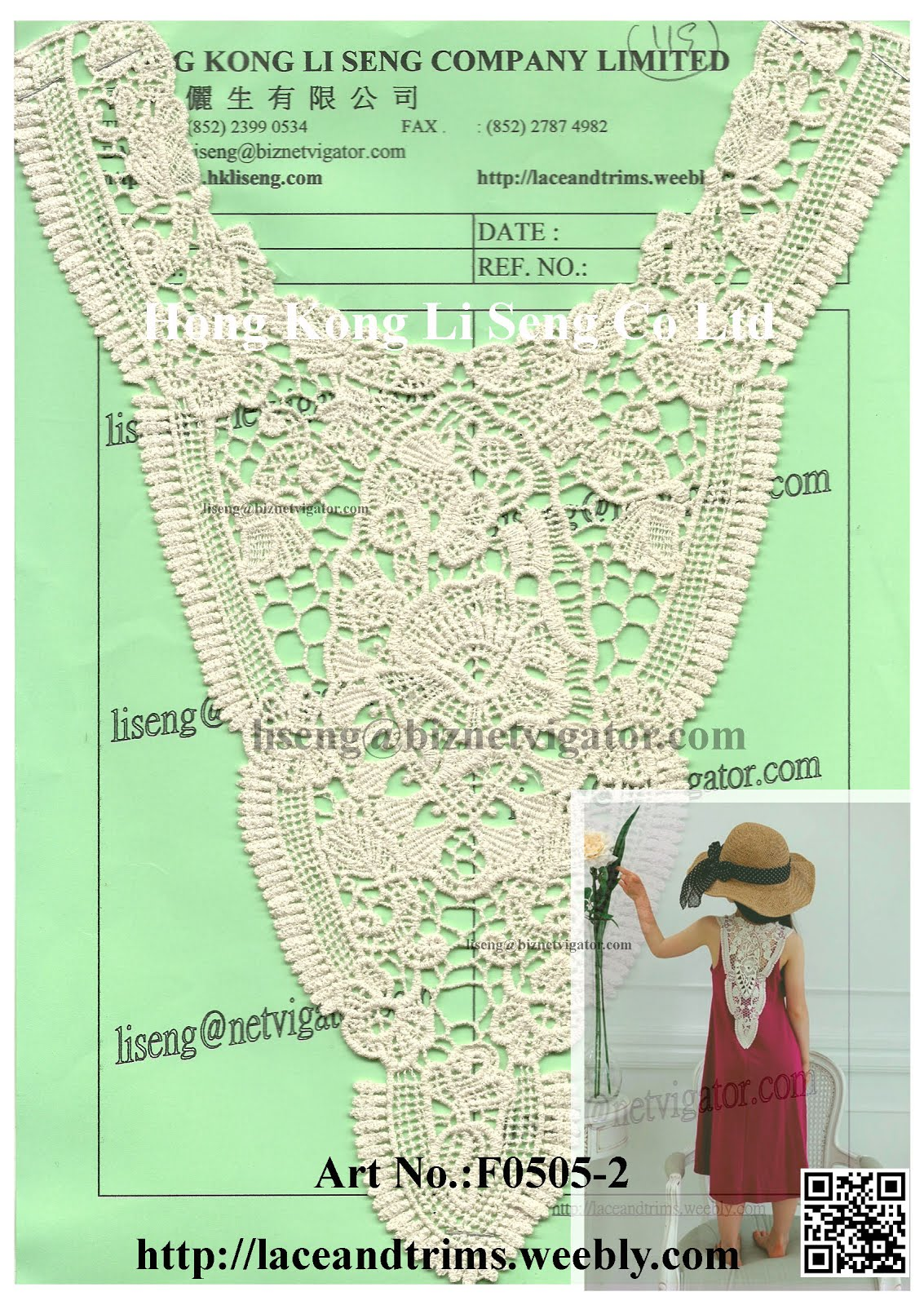 Wow - Very Nice and Cute V-Shaped Lace Applique Art No.:F0505-2