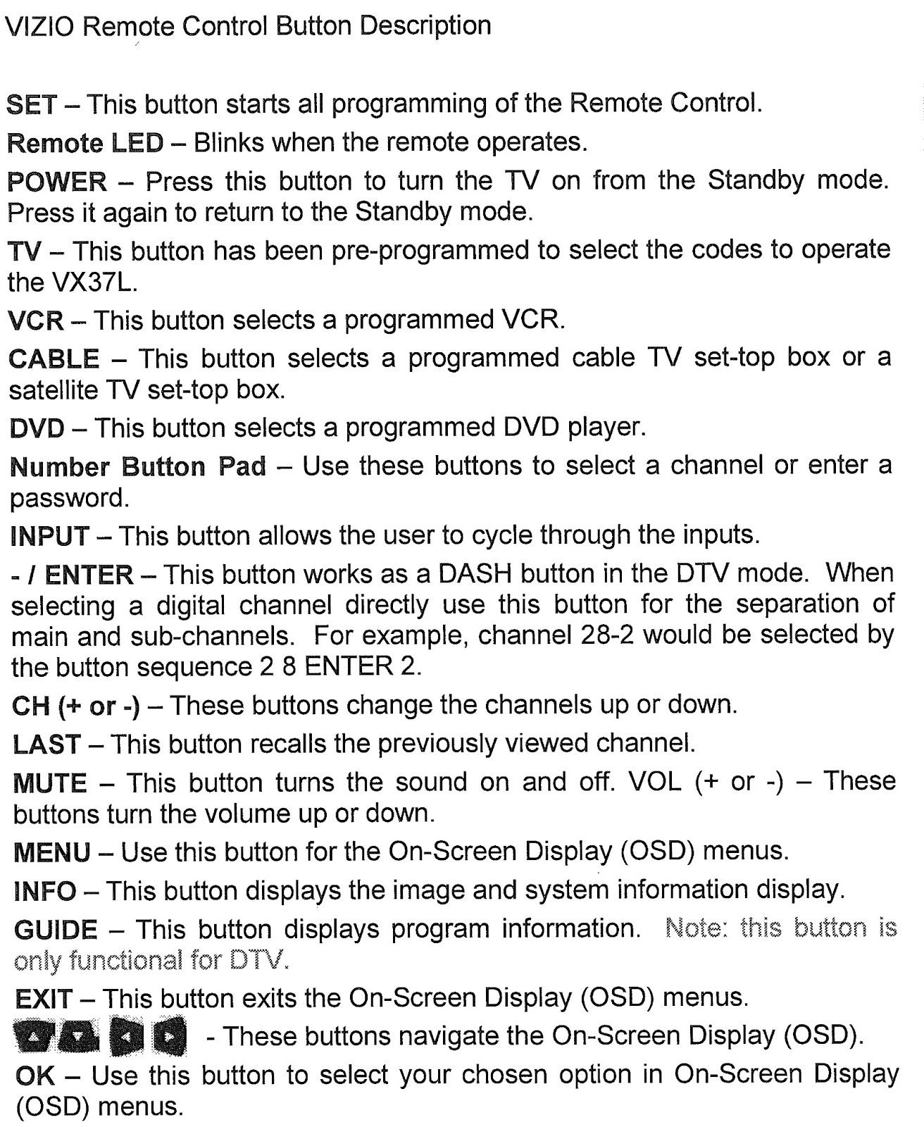 Vizio Gv46hdtv Vx37l Remote Control User Manual