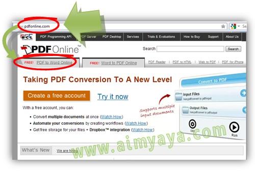 Gambar: Langkah 1. Cara melakukan Convert PDF to WORD secara online.  Konversi file PDF ke word menggunakan pdfonline. Buka Website