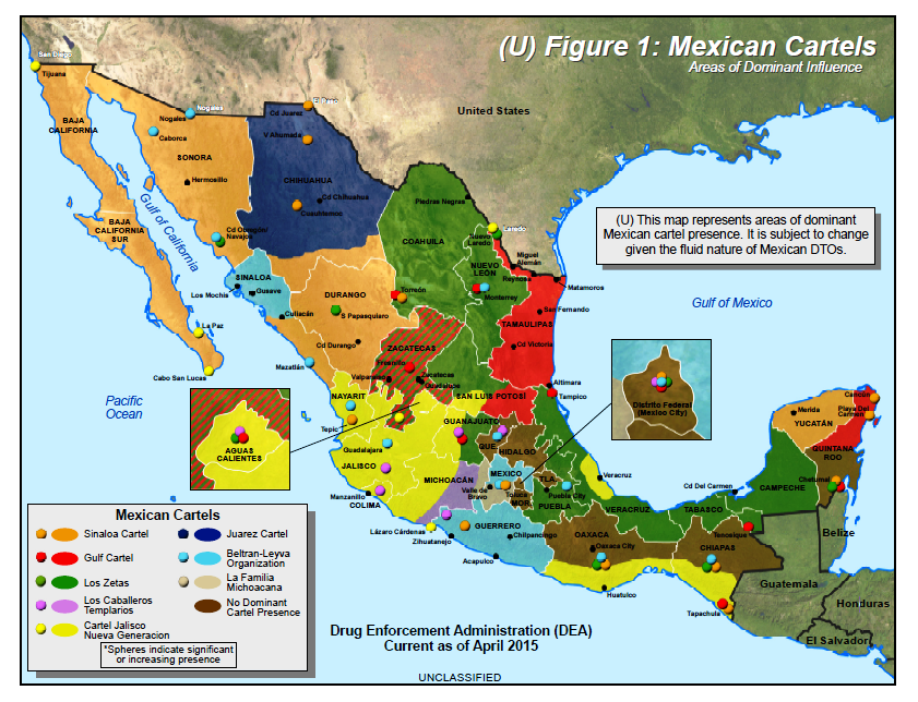 dea report and map of major cartels and areas of dominance in mexico the dea identifies the major cartels as a total of eight cjng is identified as the