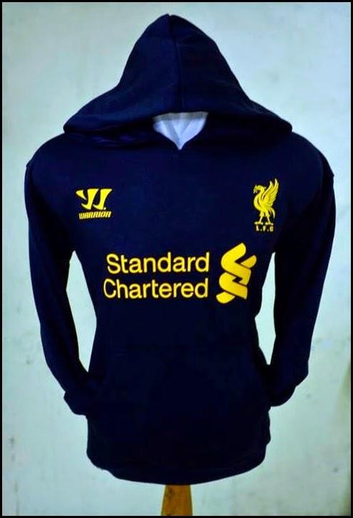 Jumper Hoodie Bola Polos (Satu Warna) - Liverpool Biru Dongker