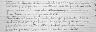 Primera etapa de un texto escrito a mano.