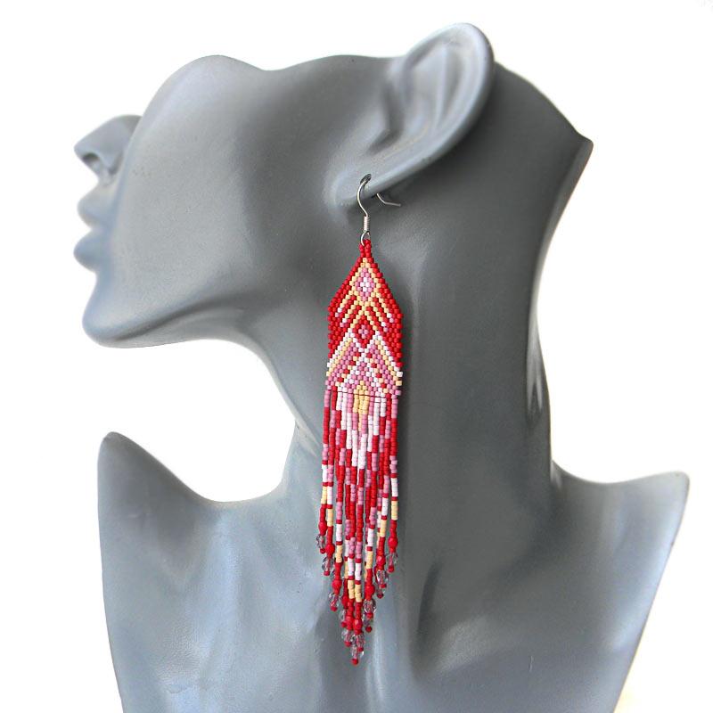 long red seed bead earrings beadwork jewelry bohemian earrings