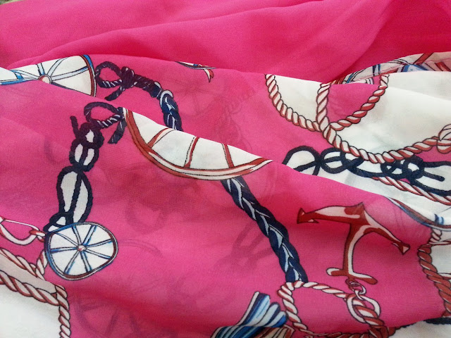 shawl chiffon 2 layer printed shocking pink