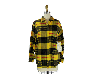 Vintage Diane Von Furstenberg Yellow and Black Plaid Button Up Unisex Shirt / Andi Shirt Listing Stats