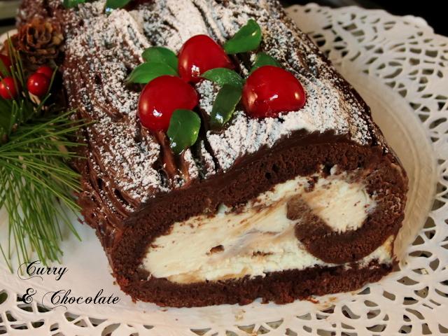 Tronco de Navidad con chocolate, café y dulce de leche