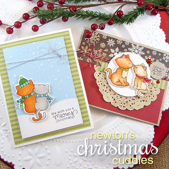 Cat Christmas Cards by Jennifer Jackson | Newton's Christmas Cuddles Stamp & Die set by Newton's Nook Designs #newtonsnook