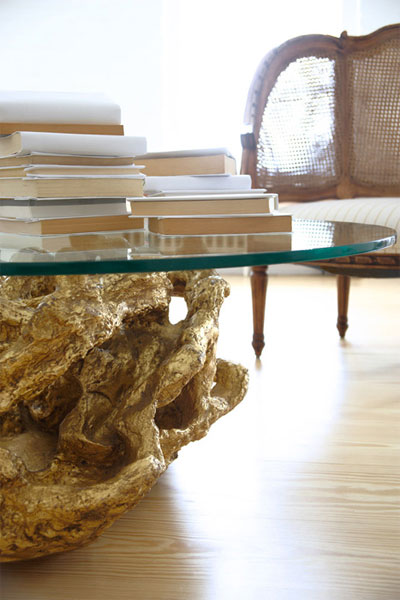 I Am Really Liking Driftwood Tables With Glass Tops Today    How About  Painted Gold Driftwood Side Table. Love To Mix It In For Some Interest.