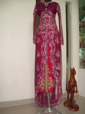 model kebaya brokat ungu muslim modern terbaru 2015