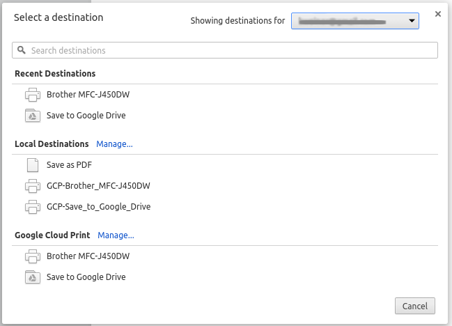 Google Cloud Print Printer Selection Dialog Box