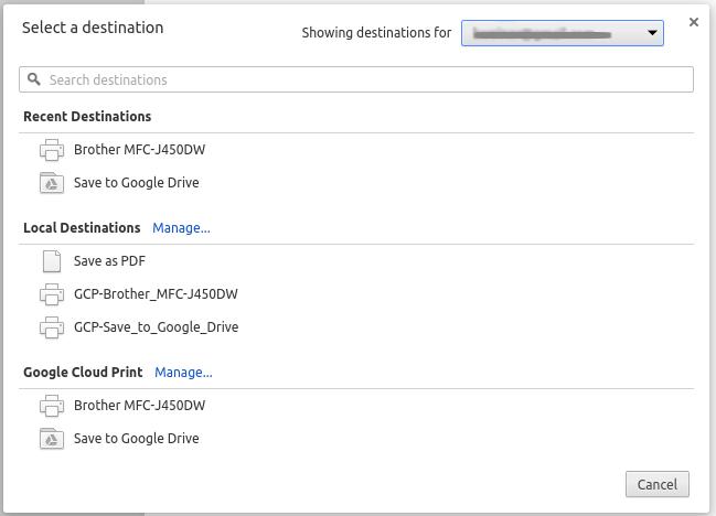 Google Cloud Print Printer Selection Dialog Box