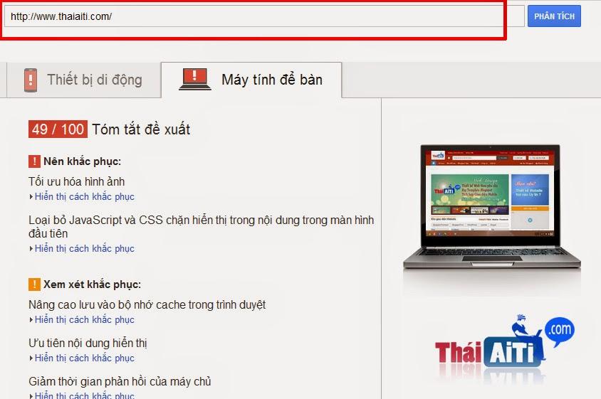 Kiểm tra tốc độ trang Web/Blogspot với 1 ứng dụng của Google