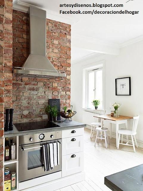 Cocinas con acabados de piedra for Cocinas con pared de piedra