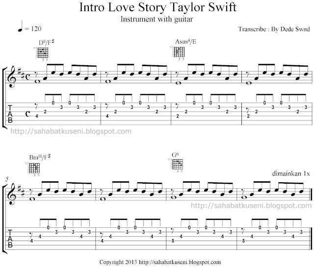 Tab dan Notasi Balok Intro Love Story Taylor Swift