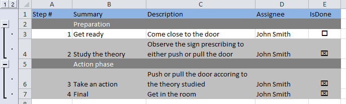 awesome checlist in excel in three steps
