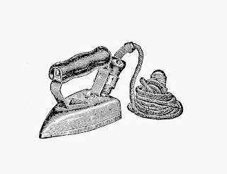 Free Iron Digital Stamps: 2 Antique Electric Iron Graphics