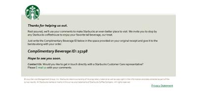 Starbucks Complimentary Beverage